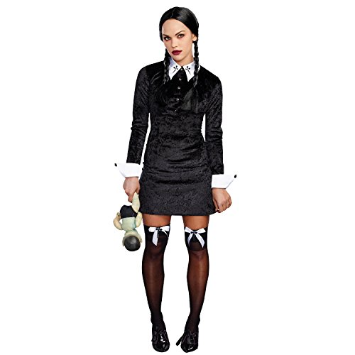 Dreamgirl Women's Friday Velvet Dress Halloween Costume, Black/White, X-Large