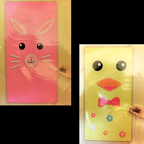 EASTER BUNNY CHICK DOOR COVER SET-Spring Party Wall Decoration Crafts Photo Prop - Instant Black Bunny Costumes Set