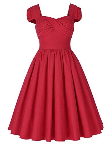 Belle-Poque-Women-Cap-Sleeve-Retro-Swing-Party-Dresses