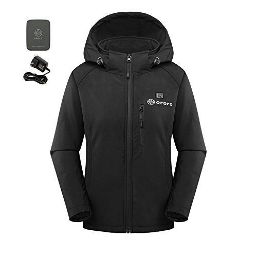 ororo Women's Slim-Fit Wireless Heated Jacket Kit with Battery Pack and Detachable Hood (M) by ororo