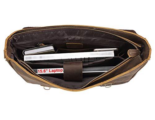 e73e3aff16 Polare Vintage Genuine Leather Tote Briefcase Professional 16   Laptop  Shoulder Messenger Bag (Dark