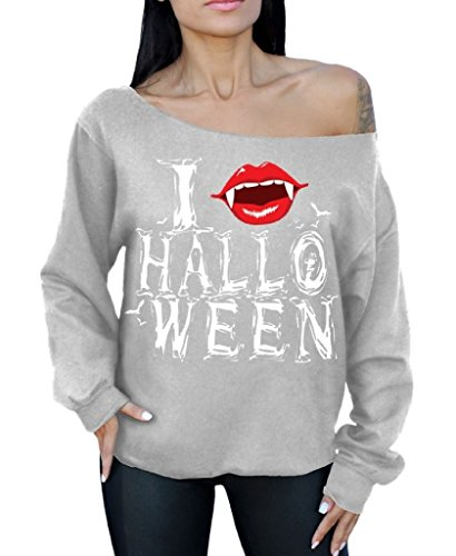 Awkwardstyles Halloween Off The Shoulder Sweatshirt I Fangs Halloween Costume XL Gray