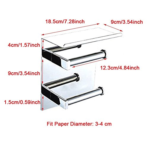 WINCASE Luxury SUS 304 Stainless Steel Toilet Paper Holder with Mobile Phone Storage Shelf Storage Rustproof Waterproof Bathroom Kitchen, Polished Chrome Finish Wall Mounted Tissue Roll Hanger by WINCASE (Image #4)