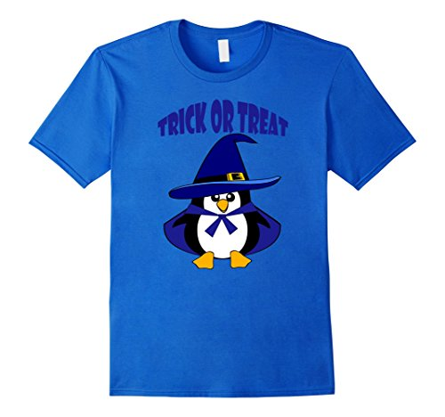 Mens Cute Baby Penguin T Shirt Trick or Treat Halloween Wizard XL Royal Blue