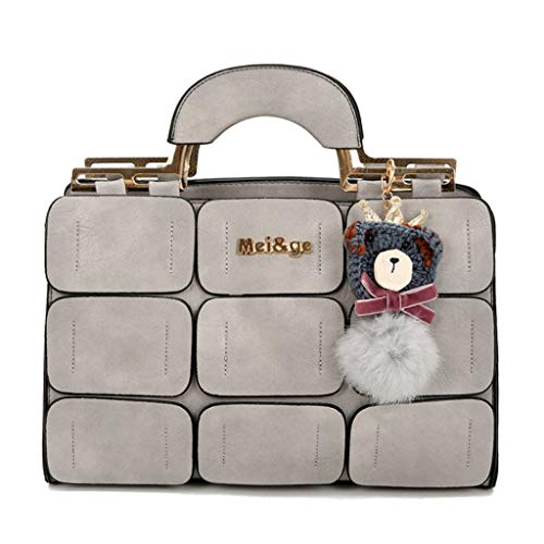 Femmes Sac à Main New Megger Sac à bandoulière Couture Couronne Tote Crossbody Bag 8 Couleurs (31 * 22 * 10 cm) (Couleur : Gris Clair)