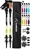 TrailBuddy Lightweight Trekking Poles - 2-pc Pack Adjustable Hiking or Walking Sticks - Strong Aircraft Aluminum - Quick Adjust Flip-Lock - Cork Grip, Padded Strap - (Spring Green)