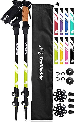 TrailBuddy Lightweight Trekking Poles - 2-pc Pack Adjustable Hiking or Walking Sticks - Strong Aircraft Aluminum - Quick Adjust Flip-Lock - Cork Grip, Padded Strap - (Spring Green) (Telescopic Skiing Poles)