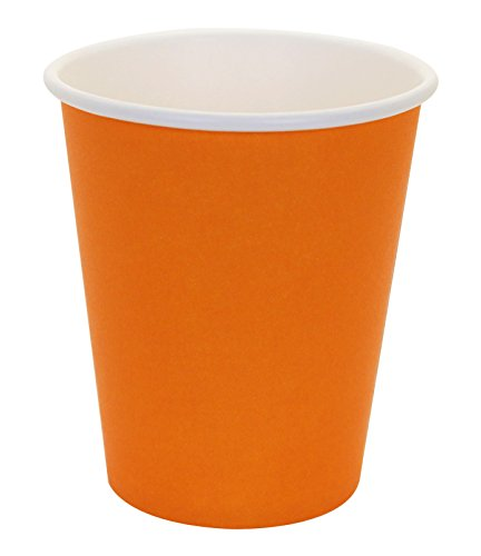 Hot Party Paper Cups, 8 Ounce, 50 Count, Multiple Colors (Orange)