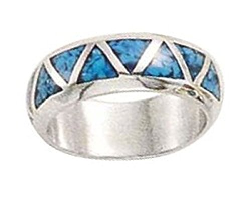 ex Continuous Simulated Turquoise Inlay Triangles Ring Size 8 (Triangle Turquoise Inlay)