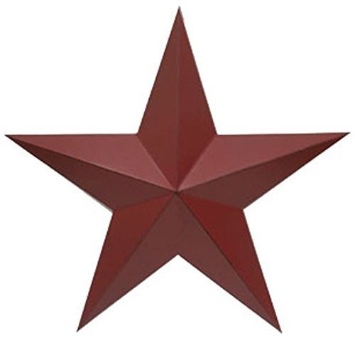 ACCENTHOME Metal Country Burgundy Antique Barn Star Country Primitive Star Wall Décor 24