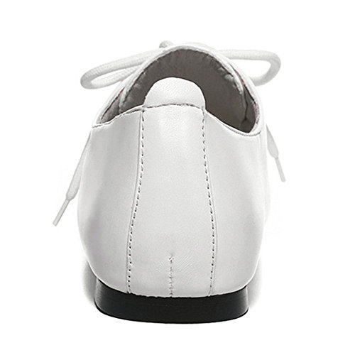 Sfnld Womens Confortable Bout Rond Lace Up Mocassins Flats Chaussures Blanc