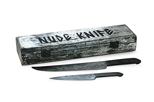 Forged in Fire from Steel File : Nude Knife Set : Cave Man Collection - Natural Shape Fixed Handle Knives. Specialty Carbon Steel Knives for Hunters to Process Carcass, Bushcrafting, Camp Chores by Agile