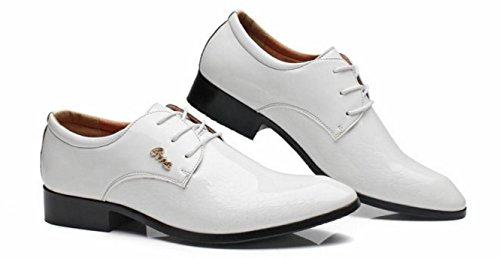 HYLM Zapatos del negocio de los hombres Zapatos de la boda Zapatos ocasionales Zapatos de la marea El nuevo color sólido del patrón White