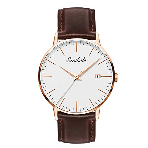 Emibele Mens Quartz Watch, Business Casual Fashion Waterproof 50M Water Resistant Quartz Wristwatch with Premium Leather Band and Calendar Date Window for Men - Rose Gold Dial + Brown Band ()
