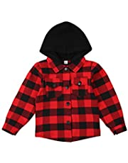 Laiyqifaudy Toddler Baby Boy Plaid Jacket Long Sleeve Button Down Flannel Shirt Hoodies Fall Hooded Sweatshirt with Pockets