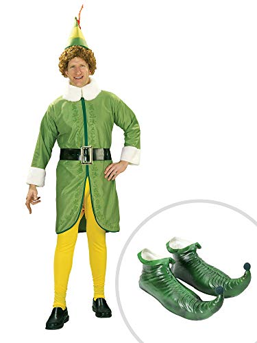 Buddy The Elf Costume Kit Adult Standard with Green Elf Shoes -