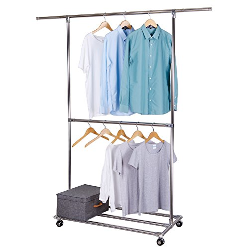 Lifewit Adjustable Double Rods Garment Rack with Storage Base for Shoe Boxes Rolling Hanging Rail for Clothes, High Capacity,Stainless Steel - Garment Storage Boxes