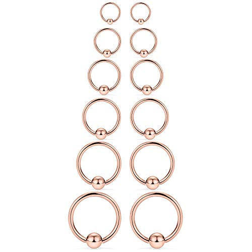SCERRING 12PCS 14G Stainless Steel Captive Bead Ring Nose Rings Hoop Helix Daith Cartilage Tragus Earrings Nipple Eyebrow Body Piercing 8mm 10mm 12mm 14mm 16mm 19mm Rose Gold