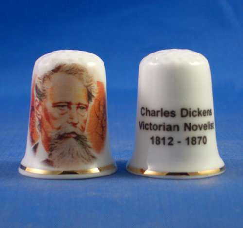 Porcelain China Collectable Thimble - Charles Dickens with Free Gift Box