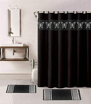 Asian black metal shower curtain hooks