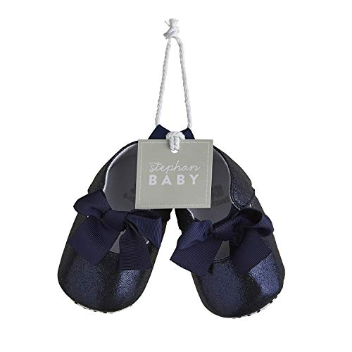 Stephan Baby Twinkle Toes Party Shoe-Style Foot Finders, Navy Blue Metallic, Fits 6-12 Months