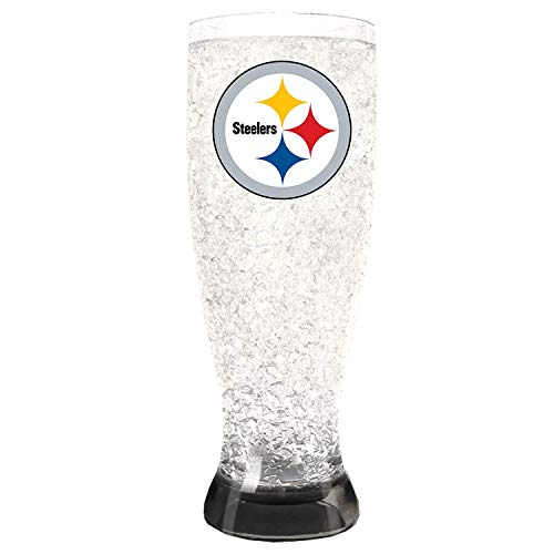 (Duck House 1 Pc, Pittsburgh Steelers Pilsner Crystal Freezer Style, 16oz, Plastic Glass, Eye Catching Crystals, Color Coordinating Base)