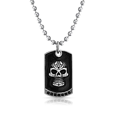 (Bling Jewelry Mens Black Caribbean Pirates Skull Dog Tag Pendant Necklace for Teen Silver Tone Stainless Steel 24 Inches)