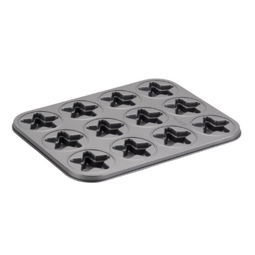 Cake Boss Novelty Nonstick Bakeware 12-Cup Star Molded Cookie Pan, Gray by Cake Boss