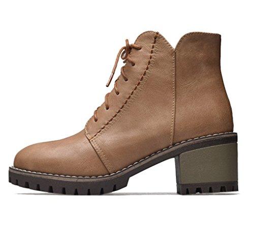 moyen aspect Oaleen Camel cheville Chaussures de bloc lacets ville femme talon cuir hiver boots Fww8qRB