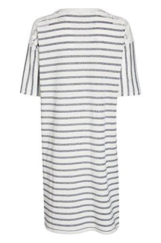 Spitzenverzierung Blau Damen next Sweatshirtkleid mit Langgröße Weiß FWtYaqwU