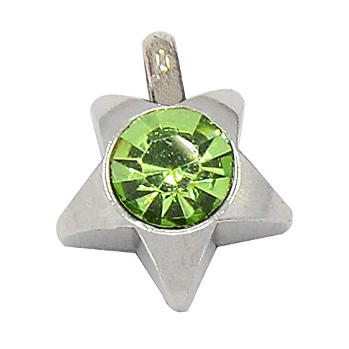 (UNICRAFTABLE 50pcs 304 Stainless Steel Rhinestone Star Charm Pendants Peridot Grade A Faceted Glass Pendants with Star Shape Stainless Steel Setting 1mm Hole Dangle Charms for Jewelry Making 9x8x3mm)