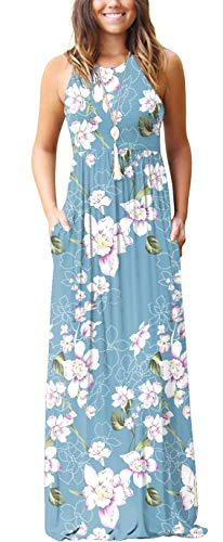 GRECERELLE Women's Sleeveless Racerback Loose Plain Maxi Dress Floral Print Casual Long Dresses with Pockets Light Blue-M