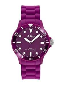 s.Oliver s.Oliver - Reloj analógico unisex de cuarzo con correa de silicona lila - sumergible a 50 metros