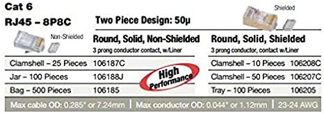 Bag of 500 P//N 106185 Platinum Tools RJ45 8P8C Cat6 2 PC Round-Solid w//Liner