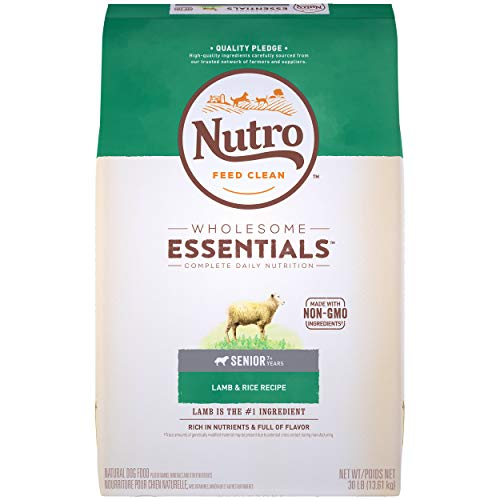 NUTRO WHOLESOME ESSENTIALS Natural Senior Dry Dog Food Lamb & Rice Recipe, 30 lb. Bag