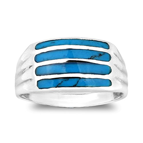 Contemporary Horizontal Bar Pattern Simulated Turquoise .925 Sterling Silver Ring (9) (Horizontal Bar Pattern)
