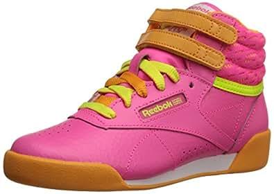 Reebok Freestyle High Classic Shoe (Little Kid/Big Kid), Solar Pink/Sunset Orange/Solar Yellow/White, 2.5 M US Little Kid