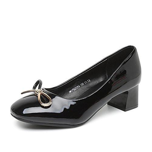 PUMPS Damenschuhe,Grob Heel Set Foot Square Head Shoes-A Fußlänge=23.3CM(9.2Inch)