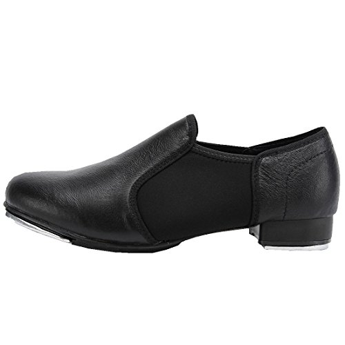 upper Womens Jazz Adults Tap Slip leather on Brown Black Outsole Rubber shoes Pig 8xxd1Bwq