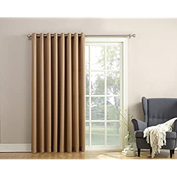 "Sun Zero Barrow Energy Efficient Patio Door Curtain Panel, 100"" x 84"", Taupe Brown"