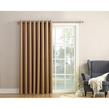 Sun Zero Barrow Energy Efficient Patio Door Curtain Panel,Taupe Brown,
