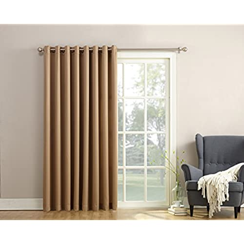 Curtains for patio doors amazon sun zero barrow energy efficient patio door curtain panel 100 x 84 taupe brown planetlyrics Gallery