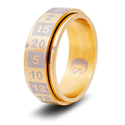CritSuccess d20 Dice Ring with 20 Sided Die Spinner (Size 8.5 - Stainless Steel - Gold): Toys & Games