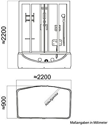 troni técnica montado ducha Whirlpool Bañera Ducha Templo Completo ducha cabina de ducha Ducha 170 x 90: Amazon.es: Hogar
