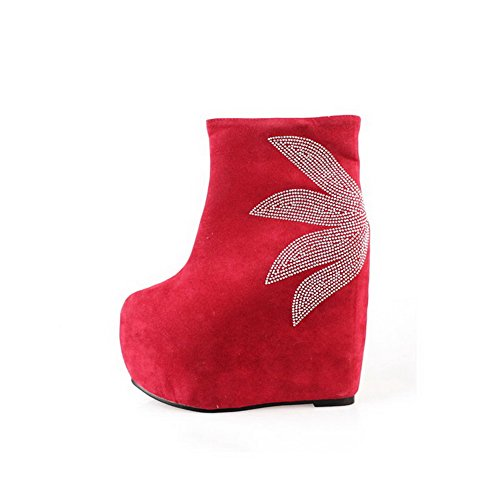 Synthetic High Wedge 5 B M US Boots and Heels Closed AmoonyFashion Red Toe 5 Round with Rhinestones Solid Womens 7gYwSY
