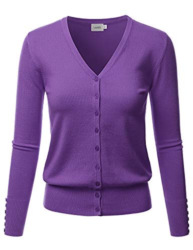 LALABEE Women's V-Neck Long Sleeve Button Down Sweater Cardigan Soft Knit-Ultraviolet-XL ()