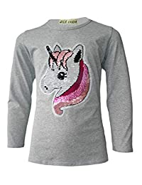 Girls Emoji Emoticons Unicorn FACE TEE Tops Brush Changing Sequin New Age 3-14