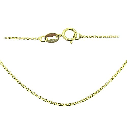 22k Gold Plated over 925 Sterling Silver Chain, Vermeil Necklace-Tiny Plain Cable Oval-Finished Necklace for Pendant-Ready to Wear-All Sizes (16 (Vermeil Pendant)