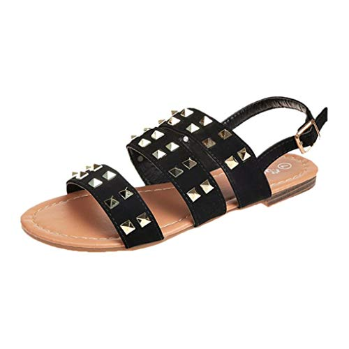 Finn Classic Clogs - FORUU Vintage Women Breathable Rivets Open Toe Buckle Strap Flat Sandals Rome Slippers