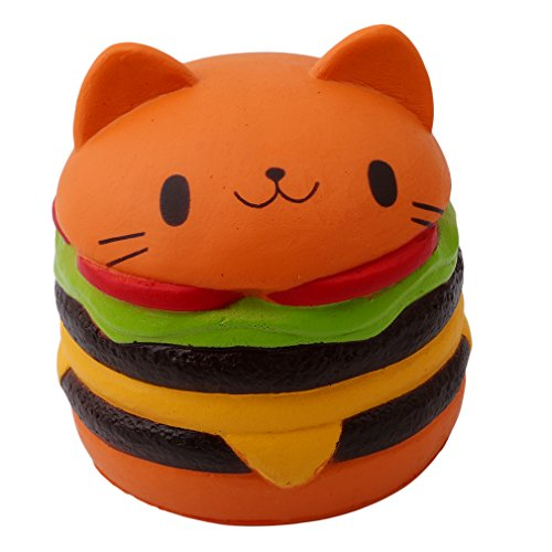 H_US000 HS Jumbo Slow Rising Rebound Soft Cat Hamburger Bread Squeeze Toy Orange